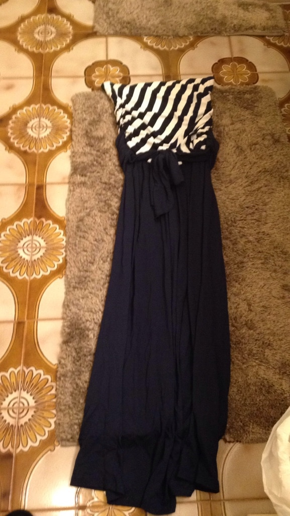Photo Brand new navy and white one piece. Looks like dress but pants. Sm/med