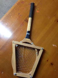 Tennis Racket with wood storage frame-vintage-collectible