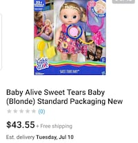 Baby alive sweet tears & snackin noodles baby Parma, 44129