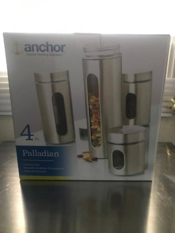 grey stainless steel Anchor 4-piece palladian canister set box