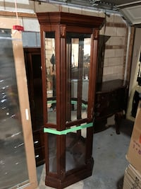 Brown wooden corner cabinet glass display cabinet