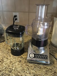 gray and black Cuisinart food processor and glass blender