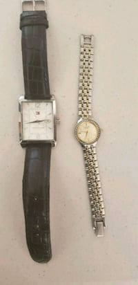 two round silver analog watches with black leather straps Santa Maria, 93455