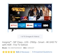 Insignia 58inch-LED-4k UHD with HDR- Fire Tv edition TV Tampa, 33607