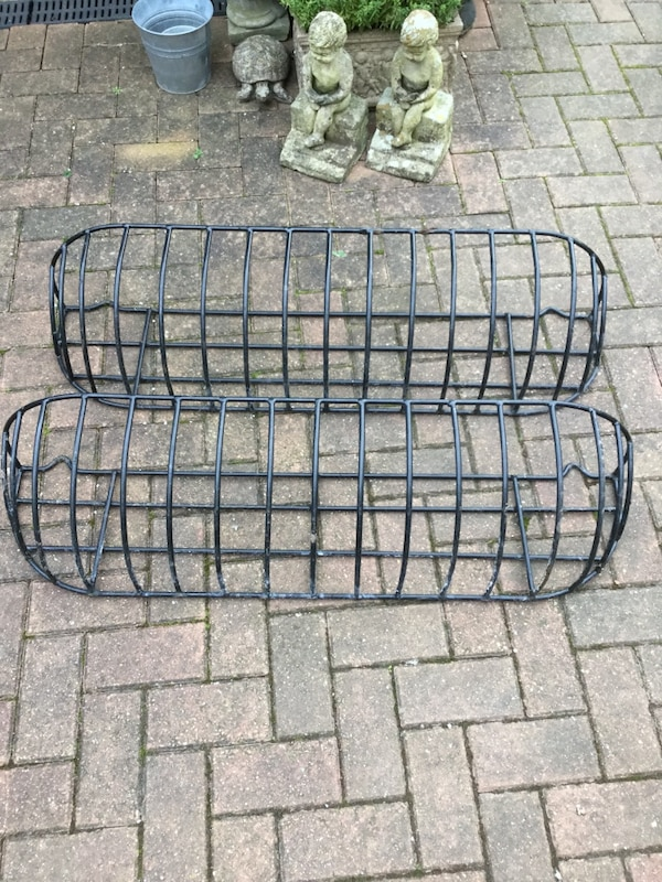 2 long heavy metal garden planters for wall / fence