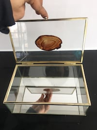 Gorgeous glass jewelry box with amber stone and gold accenting