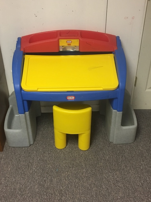 Used Yellow Blue And Red Little Tikes Desk And Chair With Storage