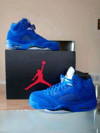 pair of blue Air Jordan 5's with box Vancouver