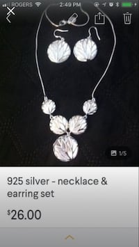 925 silver necklace & earring set  Vaughan, L6A 2S1