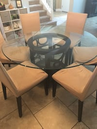 round glass top table with six chairs dining set Saint Cloud, 34771