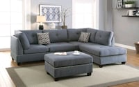 Charcoal Gray Nailhead Sectional And Ottoman  Flourtown, 19031