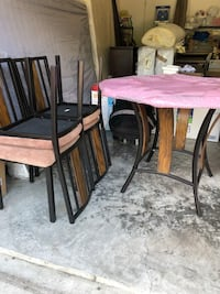 Round glass table & 4 chairs (dia-42 inches)