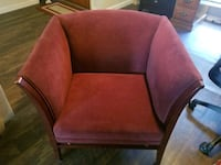 Two (2) Red Fabric Accent Chairs