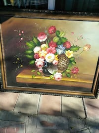 black flower vase with assorted color petaled flowers painting with frame Las Vegas, 89101