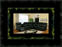 Cshape sectional black bonded leather Temple Hills