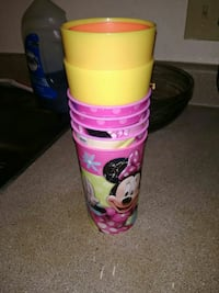 yellow and pink Minnie Mouse printed cups