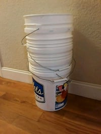 5 gallon buckets. lids available for some.