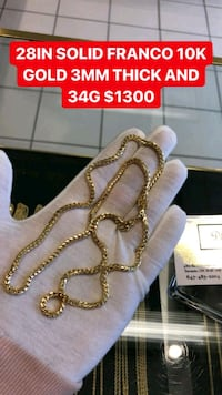 "10K REAL GOLD 28"" SOLID FRANCO CHAIN  Toronto, M1K 1N8"