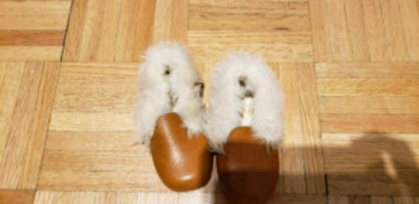 Brown leather toddler shoes