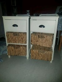 two white wooden side tables London, SW19 6LE