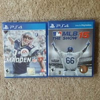 2 PS4 Games... Madden 17 and MLB The Show ..  McElhattan, 17745