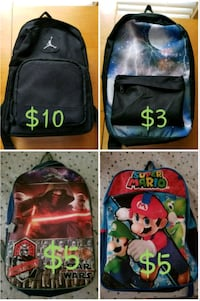 four assorted color backpacks collage Fort Worth, 76103