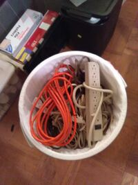 white power strip and orange coated wire 43 km