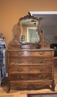 Antique Dresser with Marble top and ornate mirror
