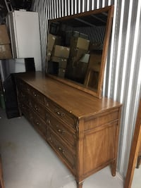long antique buffet **solid wood throughout** perfect for DIY