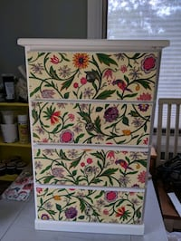 Small Chest of Drawers. White, Decoupaged Drawers