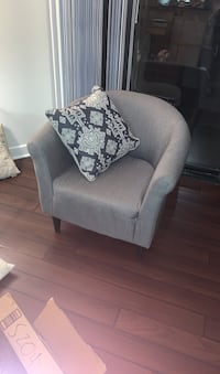 Grey barrel arm chair