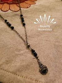 Sterling silver 925 onyx necklace with antique design. Pico Rivera