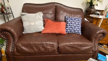 Brown Love Seat and Sofa Chair