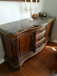 Marble top buffet server with ornate carved detail Vaughan, L4H 1V9