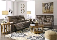 [EXCLUSIVE] Wurstrow Umber Leather Power Reclining Living Room Set   Jessup, 20794