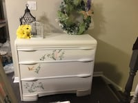 Beautiful refurbished antique dresser stencilled with birds. Delivery