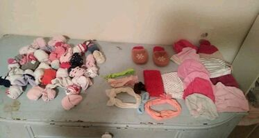 Socks,bows,hats,mittens,bibs,and burp clothes