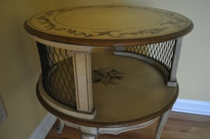 Set of two antique hand-painted signed parlor tables