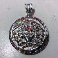 Silver Toned VERSACE Medusa Pendent Necklace Charm Bloomfield, 07003