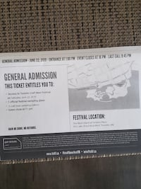 2-Early Bird General Admission Tickets  to Toronto Craft Beer Festival, SaturdayJune 22nd Bolton, L7E 1X4