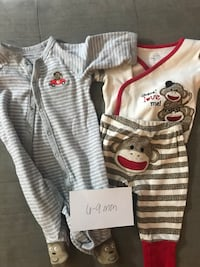 2 sets of monkey PJs - 6 to 9 months  Columbia, 21044