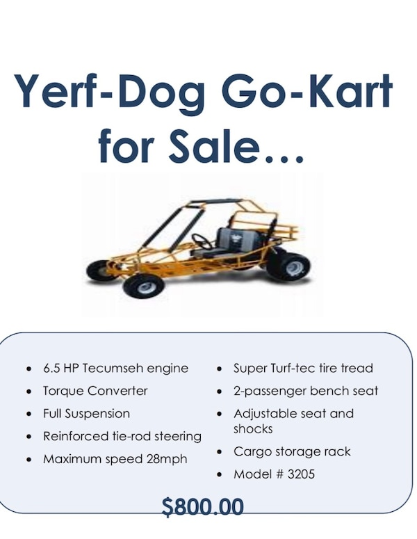 Used Yellow Yerf dog go kart for sale in Macon - letgo