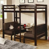black wooden bunk bed with mattresses Lakeland, 33809
