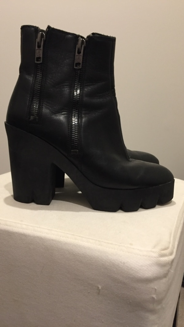 pair of women's black leather boots