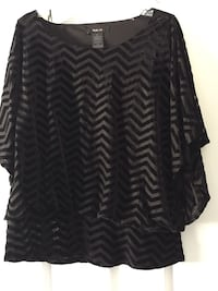 black and gray chevron scoop-neck long-sleeve shirt