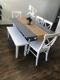 rectangular white wooden table with four chairs dining set San Diego, 92154