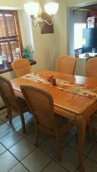 rectangular brown wooden table with six chairs dining set El Paso, 79936