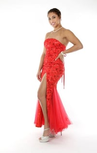 Long Red strapless formal dress Herndon, 20170