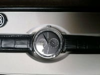 round silver chronograph watch with black leather  Burtonsville, 20866