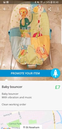 baby's white and blue bouncer London, E6 6DD